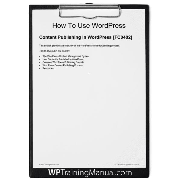 Content Publishing In WordPress [FC0402]