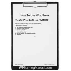 The WordPress Dashboard [CL040102]