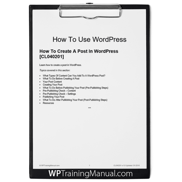 How To Create A Post In WordPress [CL040201]