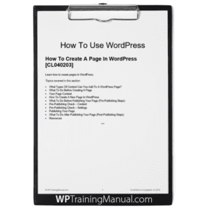 How To Create A Page In WordPress [CL040203]
