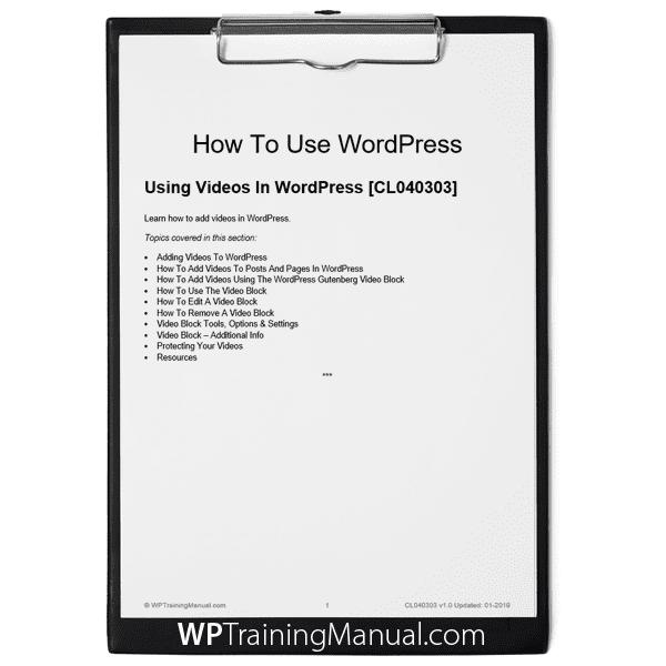 Using Videos In WordPress [CL040303]